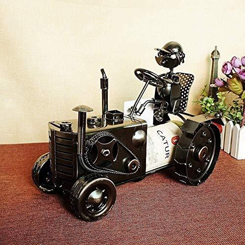 IREANJ Vino tractor de la serie de hierro estante decoración del hogar decoración Compatible with el hogar escultura titular de la botella de vino vino Contenedores Decoración del arte del hierro arte