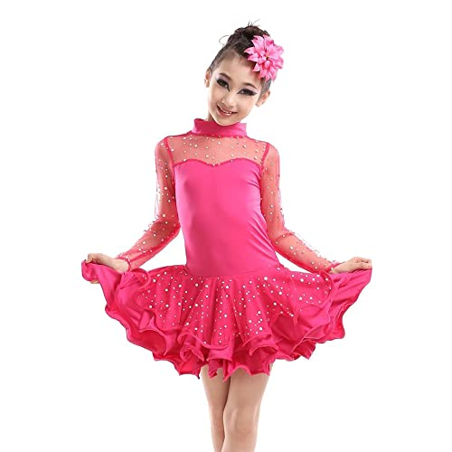 8f9a1435fa85 BOZEVON Kids Girls Sequined Latin Tango Ballroom Dance Dress Skirt Latin  Costume