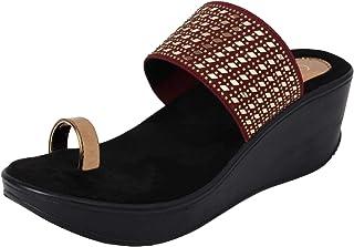 Catwalk Women Maroon Wedge Sandals Fashion