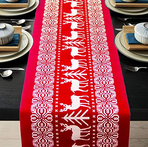 ENTHUR Christmas Table Runners Printed Linen Table Lines for Xmas Holiday Season Home Table Christmas Decoration 12 x 108 Inch