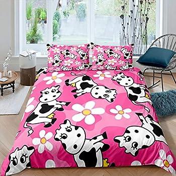 Erosebridal Kids Cows Comforter Cover Full Size for Child Girls Boys Flower Girly Bedding Set Cute Animal Kawaii Duvet Cover Cartoon Style Floral Quilt Cover Decor 3 Pcs Pink