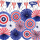 SUQQUER 25PCS 4th of July Decorations Set, 4th of July Patriotic Decorations Set-12 Foldable Colorful Paper Fan, 12 Swirl Streamer, 1 USA Flag Banner, Love USA Banner Party Favors For American Theme Party