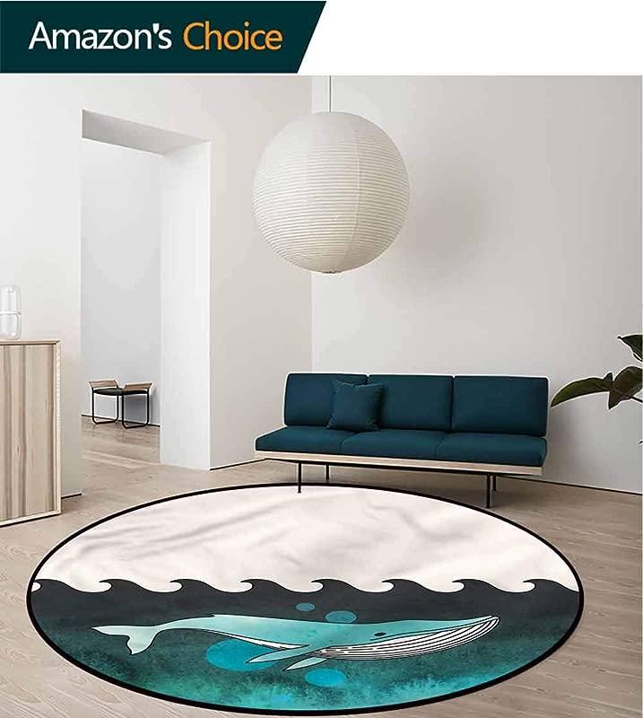 RUGSMAT Whale Round Area Rug Carpet Whale Near Palm Island Foam Mat Bedroom Decor Diameter 24