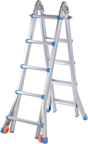 discount Extension Ladder, 17 Feet Aluminum Extension Multi-Position Ladder Adjustable Telescoping Ladder high quality with Protective Lock and 2 2021 Wheels online sale