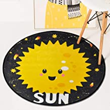 Cartoon Planet Round Rugs Bedroom Children Coral Fleece Crawling Mat Bed Carpet Living Room Mat,5,60 * 60cm