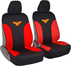 DC Comics Wonder Woman Car Seat Covers - 100% Waterproof Front Pair Gray Black Fit Cover - Side Airbag Safe Protection for Car SUV Van Truck
