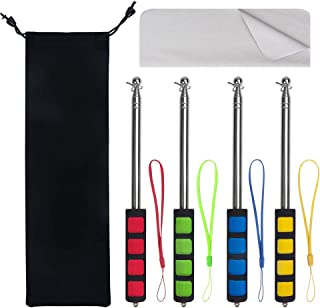 Enjoyist 4 Packs Assorted Color Telescoping Flagpole, Extendable Stainless Steel Banner Tour Guides & Pointer for Teachers, with Waterproof Bag & Cleaning Cloth (63'' Flagpole)