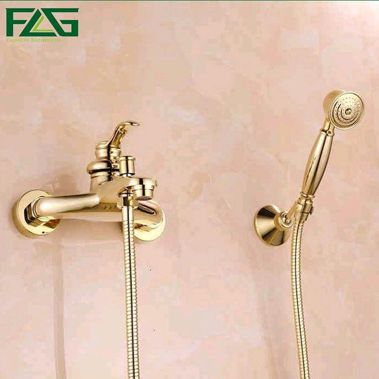 Aututer Badezimmer-Wand Handduschkopf mit einer Hand aus verGoldetem Messing Duscharmatur Kit Set