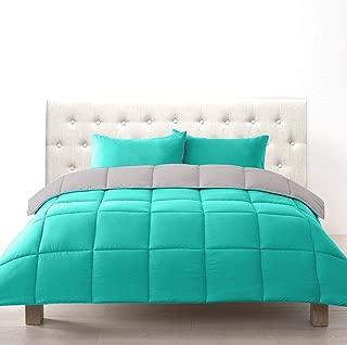 Bien Living All-Season 3 Piece Reversible Down Alternative Box Quilted Comforter Microfiber Duvet Set -Ultra Soft Lightweight -Hotel Quality- Teal/Light Grey - Queen