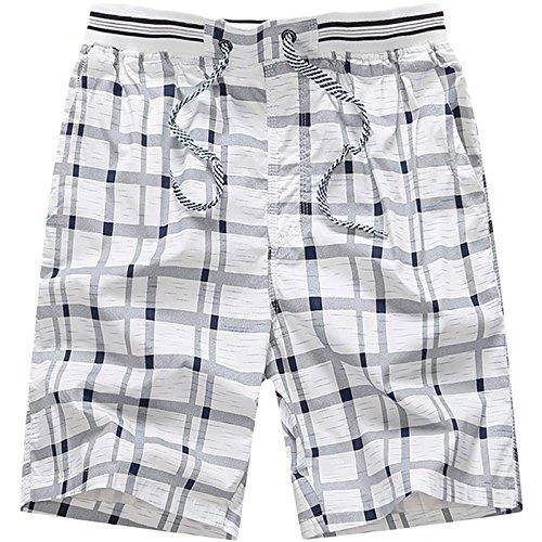 LEOCLOTHO Hombre Bermudas Pantalones Cortos a Cuadros de Playa Cintura