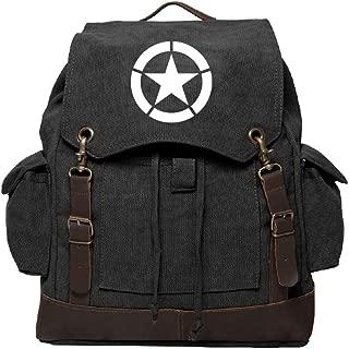 World War 2 Military Jeep Star Rucksack Backpack w/Leather Straps Black & White
