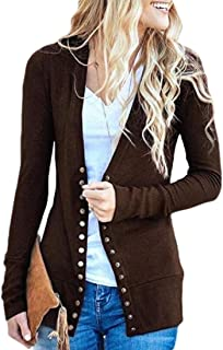Women Basic Long Sleeve V Neck Snaps Button Down Cute Knit Sweater Cardigan