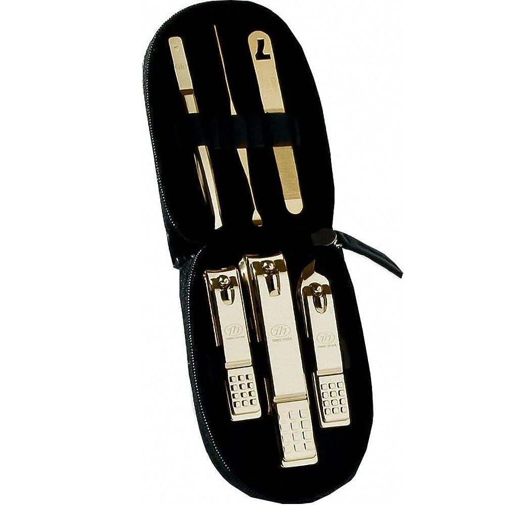 採用侵入を除く【 三セブン】THREE SEVEN TS-560C.G Manicure Set in Compact Case 三セブンコンパクトボックスにセットされたTS-560C,Gマニキュア (5.Gold_Red) [並行輸入品]