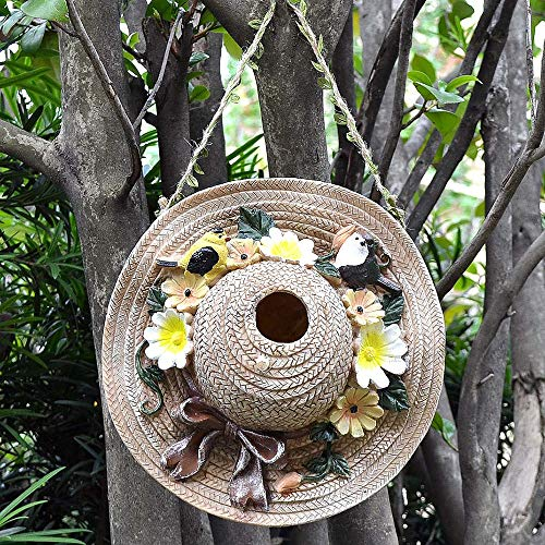 Birdhouse Wood Birdhouse Retro Crafts Outdoor Cottages Bird House Outdoor Decoration Bird House Garden Ornament (Color : B, Size : Free size)