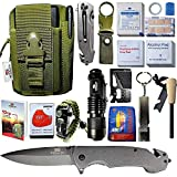 STEALTH SQUADS 42 in 1 Survival Military Pouch KIT, Premium Tactical Pocket Knife, First AID KIT, EDC Multi-Tool USE for Camping, Hiking, Biking, Birthday Gift, Outdoor Safety Gears w/Bonus E-Book