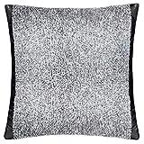 Crush-Kissenbezug – Microfaser Kissenhülle – flauschiges Kuschelkissen mit Kunstledersaum – 40x40 cm – 010 offwhite – von 'zoeppritz since 1828'