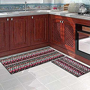 Carvapet 2 Piece Non-Slip Kitchen Mat Runner Rug Set Doormat Vintage Design Bohemia Style,Pink (15 x47 +15 x23 )