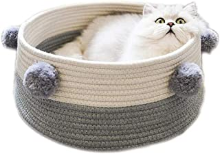 Gluckluz Cat Bed House Basket Nest Kennel Pet Scratcher Scratching Scratch Mat Pad Cotton Rope Woven Cute Washable for Kit...