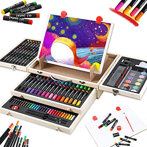 Art Supplies, 108-Piece Wooden Art Set Crafts Kit with Drawing Easel, Deluxe Kids Art Set, Oil Pastels, Markers, Colored Pencils, Watercolor Cakes, Creative Gift for Kids, Teens, Beginners Girls Boys