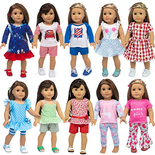 ZQDOLL 23 Pcs American Doll Clothes Dress and Accessories fit American 18 inch Girl Dolls - Including 10 Complete Set of Clothing , Doll Accessories with Hair Bands and Hair Clip