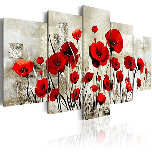murando Cuadro en Lienzo Amapolas 200x100 cm Flores Impresión de 5 Piezas Material Tejido no Tejido Impresión Artística Imagen Gráfica Decoracion de Pared Rojo Flores Naturaleza b-A-0001-b-o