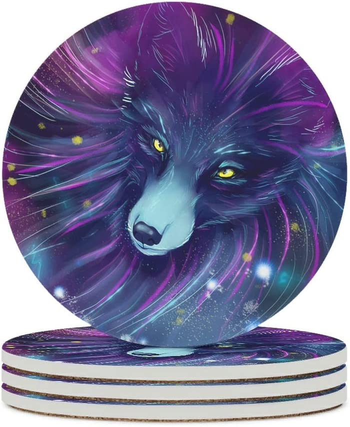 Alskyonyg in The Starry Sky Ceramic Coaster Max 53% OFF Round Weekly update Cork Back with