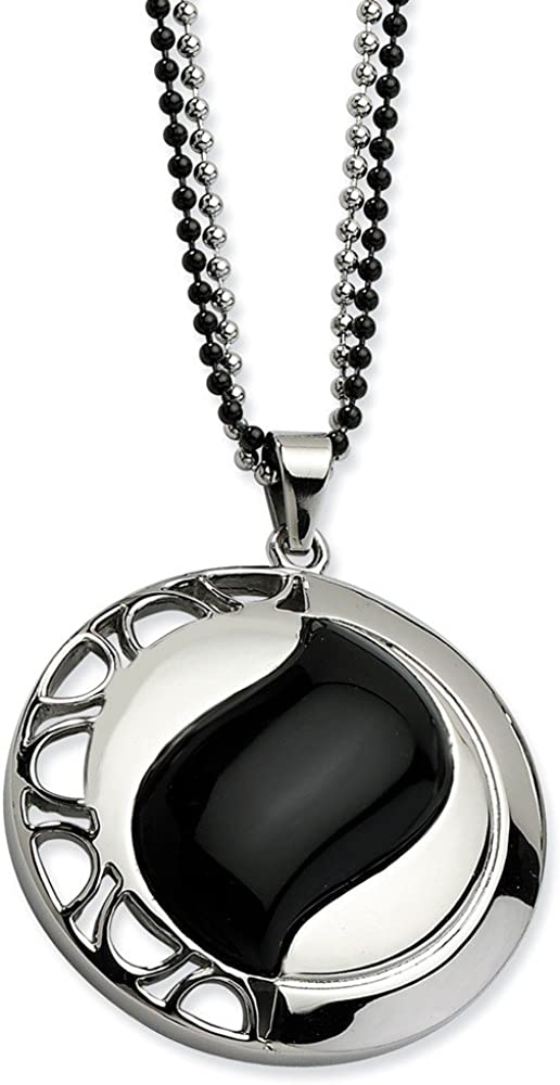 ICE CARATS Stainless Steel Black Onyx Pendant 24 Inch Chain Necklace Charm Natural Stone Wood Fashion Jewelry for Women Gifts for Her