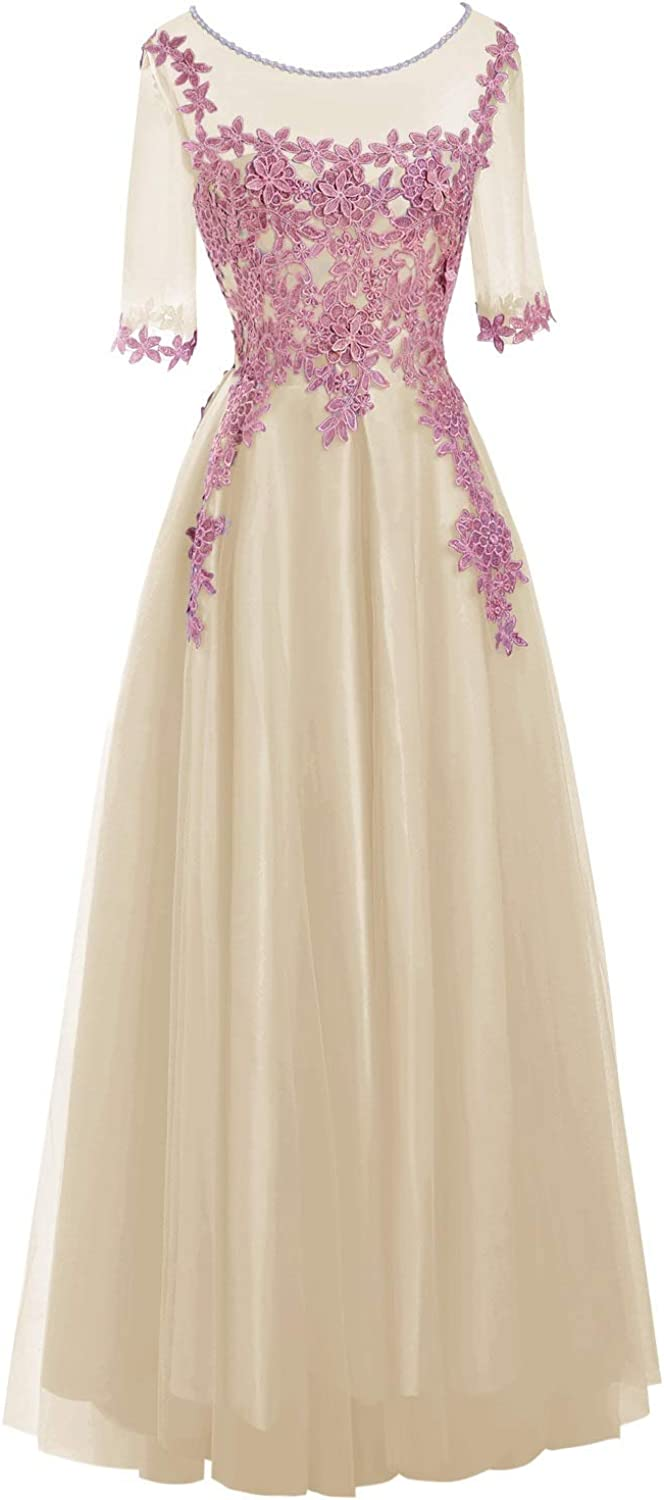 JudyBridal Women 3 4 Sleeves Formal Evening Dress Scoop Neck Gowns with Applique