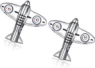 Honey Bear Cufflinks For Men - Wwii Fighter Plane Silver , Stainless Steel, Wedding Gift