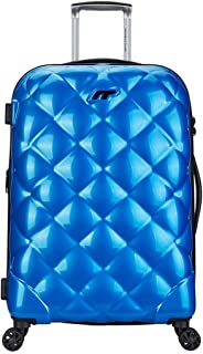 Students Trolley Suitcase, Stylish Simple Rhombic Unisex Hard Cabin Carry-On Hand Luggage Bag 360°Mute Spinner Wheels TSA Lock,Blue,28inch
