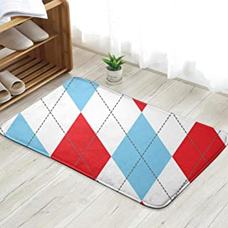 X-Large Red Blue Argyle Golf Personalized Custom Doormats Indoor/Outdoor Doormat Door Mats Non Slip Rubber Kitchen Rugs 23.6 X 15.8 Inch