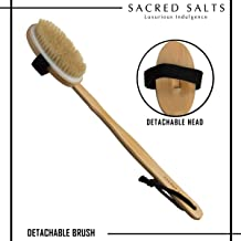 Sacred Salts Wooden Bath Brush with Long Handle | 2-in-1 Body Brush with Detachable Handle | Natural Boar Bristles | Dry Brushing Removes Dead Skin & Improves Blood Circulation