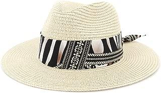 Outdoor Bucket Sun Hat Women Summer Straw Sun Hat Jazz Two-Tone Ribbon Panama Beach Hat Fedora Hat Travel Outdoor Vacation Sun Hat (Color : Khaki, Size : 56-58CM)