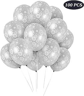 100PCS Christmas Snowflake Balloons - Winter Wonderland/Holiday/Xmas Birthday Wedding Baby Shower Party Decorations Supplies Sliver Snowflakes Decor