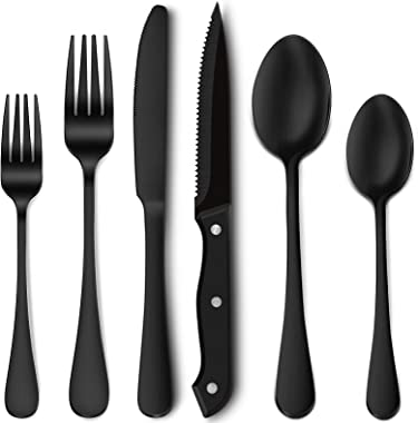 24-Piece Matte Black Silverware Set with Steak Knives, Stainless Steel Flatware Cutlery Set, Service for 4, Hand Wash Recomme