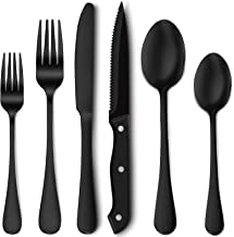24-Piece Matte Black Silverware Set with Steak Knives, Stainless Steel Flatware Cutlery Set, Service for 4, Hand Wash Reco...