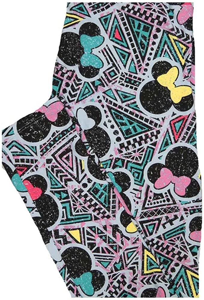 Lularoe One Size OS Disney Minnie Mouse Patchwork Triangles Leggings fits Women 2-10