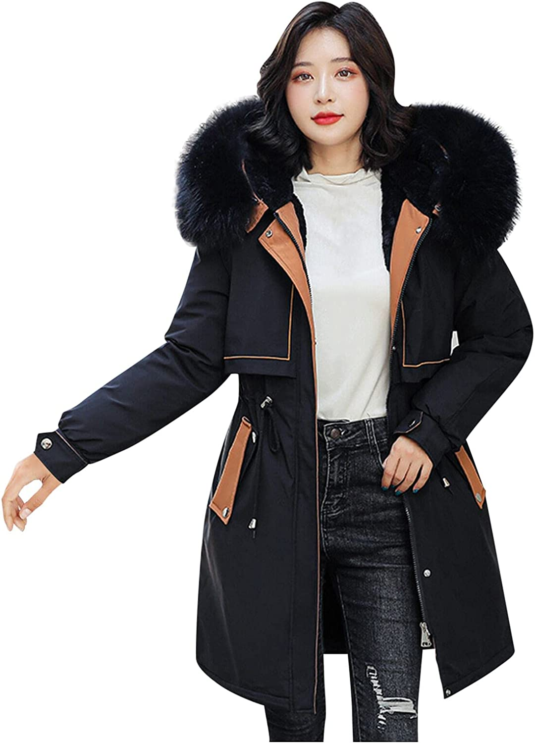 Womens Winter Hooded Warm Coats Thicken Fleece Fuzzy Outerwear Parkas Faux Fur Jackets with Pockets