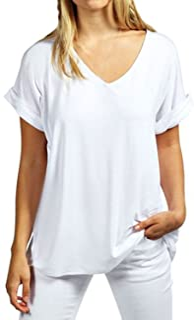 Zanzea Women's Summer Casual T-Shirt Short Sleeve Loose Basic Tee V Neck Plus Size Tops Shirts Blouse