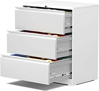 Black Three Drawers and Lockable-Classic cabinets for Home and Office use,Fast and Easily Assemble Without Screw UINSOO Steel lateral File Cabinet