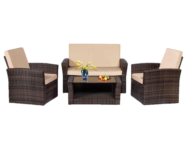 Patio Sofa Set 4pcs Outdoor Furniture Set PE Rattan Wicker Cushion Outdoor Garden Sofa Furniture with Coffee Table Bistro ...