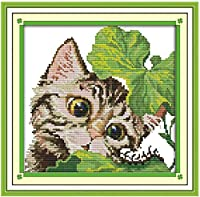 クロス ステッチ DIY 手作り刺繍キット 正確な図柄印刷クロスステッチ11CT 家庭刺繍装飾品 かわいいねこ 40X50CM