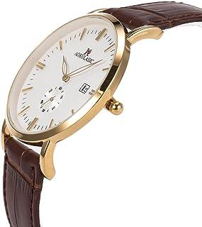 SIBOSUN Wrist Watch Men Thin Slim Japanese Quartz Waterproof Date Mesh Stainless Steel/Genuine Leather