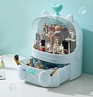 Sooyee Cat Shape Makeup Organizer, Modern Jewelry and Cosmetic Storage Display Boxes with Heart Shaped Handle, Waterproof Dustproof Design Great for Bathroom, Dresser, Vanity and Countertop (Blue)