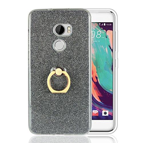 Funluna HTC One X10 Hülle mit Ring Ständer, Bling Glitzer Handyhülle Weich TPU Silikon Schutzhülle Schale Tasche mit 360 Rotierendem Ring Fingerhalterung Ständer für HTC One X10