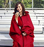 "Ultimate Sports Wrap - Patented - The Only Wearable Weatherproof/Stadium/Picnic/Sports Blanket, Complete with Upper and Lower Zippers, Lined & Adjustable Hood and Inside Hand Warmers, 70"" X 58"""