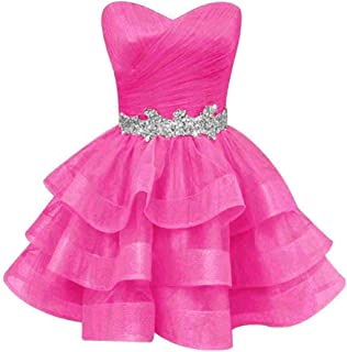 Women's Sweetheart Ruffle Beads Homecoming Dresses Sequins Sash Prom Party Gowns Short P534
