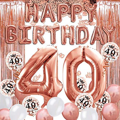 iZoeL 40 ans déco anniversaire or rose, bannière joyeux anniversaire, ballon hélium chiffres 40 XXL, Rideau à Franges or rose confettis latex numéro tableau deco confettis fille femmes