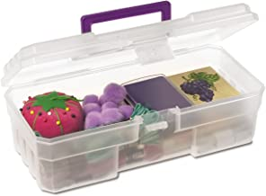Akro-Mils 09912 CLPUR 12-Inch Plastic Art Supply Craft Storage Tool Box, Semi-Clear