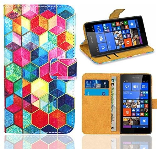 FoneExpert® Microsoft Lumia 535 Handy Tasche, Wallet Hülle Flip Cover Hüllen Etui Ledertasche Lederhülle Premium Schutzhülle für Microsoft Lumia 535 (Pattern 2)